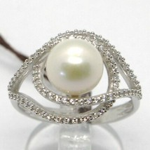 18K WHITE GOLD BAND PEARL ZIRCONIA RING ONDULATE, WAVE, DOUBLE, MADE IN ... - $471.00