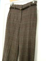 NWT Anne Klein New York Designer Brown Plaid Dress Pants Wool Trousers 6... - $149.00