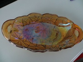 Vintage Indiana Carnival Glass Amber Iridescent Relish Dish - $10.88