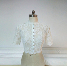 Button Down Short Sleeve Lace Shirt Wedding Bridal Plus Size Crop Lace Shirts image 1