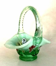 Fenton Miniature Basket Willow Green Opalescent Handpainted Pink Floral Signed - $56.42