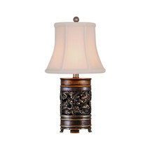 "Oriental Bronze Brass Dragon Motif Vase Table Lamp 15"" - $148.49"