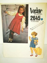 Little Vogue 2645 Girls Size 5 Dress Jumper Jumpsuit Uncut Pattern - $9.99