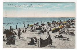 Beach Crowd Moonstone Beach Redondo Beach California 1926 postcard - $6.44