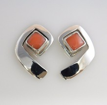 Unique Modern Pink Coral Sterling Silver Post Earrings  - $55.10