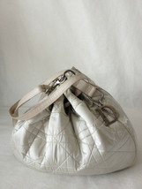 Ivory Christian Dior Satin Canvas Cannage With Leather Draw strap Tote Bag. - $544.50