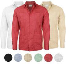 Men's Cuban Dress Shirt Beach Long Sleeve Button Up Casual Slim Fit Guayabera