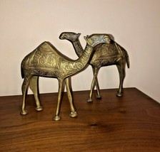Vintage Brass Camel Figurines with Hand EngravedEtched Brass Dromedary ... - $34.99