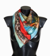 Dolce & Gabbana Authentic Red Blue Silk Warrior Print Scarf Retail USD $400 - £109.50 GBP