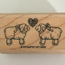 Stampin Up Rubber Stamp Lambs Sheep Couple Plaid Heart Ewe are Loved Friendship - $3.99
