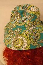 Vera Bradley Peacock Reversible Floppy Green Aqua Paisley Cotton Bucket Sun Hat - $29.95