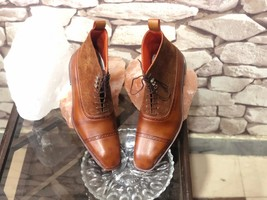Handmade Men's Brown High Ankle Lace Up Leather & Suede Boots image 4