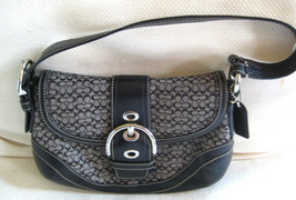 AUTH COACH SOHO 10925 Signature C Leather Shoulder Bag Black Grey MINT - $62.36