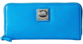 Marc Jacobs Blue Glow Leather Perforated On the Dot Slim Zip Wallet MBMJ NWT  - $113.36