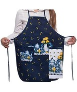 Alien Storehouse Dark Blue Kitchen Apron Art Works Bib Aprons with Pocke... - $20.65