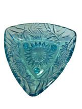 Vintage Light Blue Triangular Cut Glass dish plate - $14.69