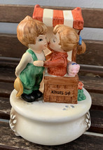 """Vintage Lefton Boy/Girl Kissing Booth Music Box Plays """"Love Story"""" # 7817 - $12.99"""