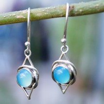 Earring Round Blue Chalcedony Natural Gemstone 925 Silver Handmade IC306 - $14.95