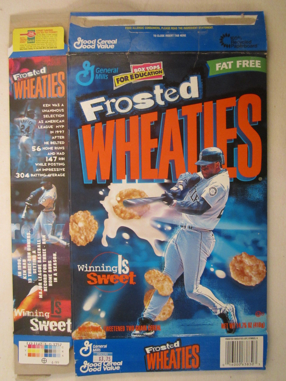 Primary image for Empty WHEATIES Box 1999 14.75oz KEN GRIFFEY JR MVP [Z202f7]