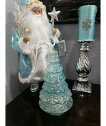 "CHRISTMAS COASTAL AQUA BLUE LIGHTED HOLIDAY TREE TABLETOP DECOR 10.25"" NEW - $39.99"