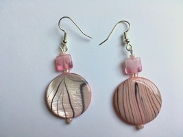 Pink Striped Disc Dangle Hook Earrings, Silver Plate, Drop Earrings, Gif... - $12.49
