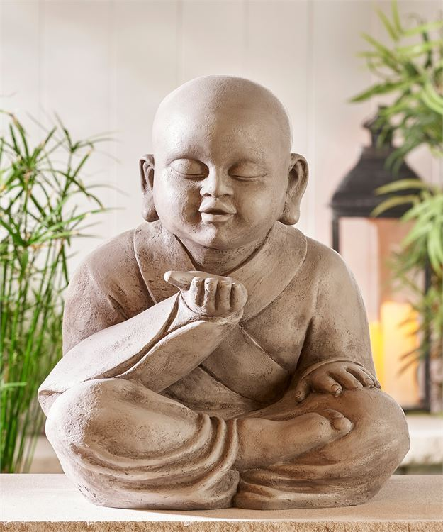 "17"" Tranquility Wishing Buddha Design Statue - Lotus Position Polystone Grey NEW"
