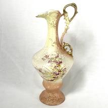 RH Austria Porcelain Pitcher Vase Hand Painted Flowers Vintage Robert Ha... - $94.05