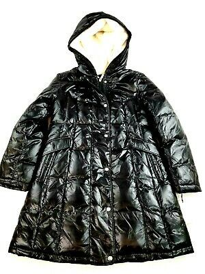 Primary image for new Aspen women jacket parka down faux fur lined lacquer SA175 black sz L