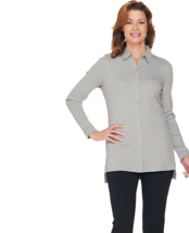 H by Halston Long Sleeve Ribbed Knit Button Front Top Size Medium - $10.76
