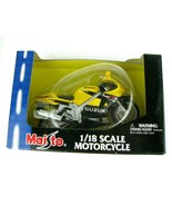 Maisto Suzuki Motorcycle Model NEW 1:18 Scale Yellow Metal Die Cast Meta... - $12.82
