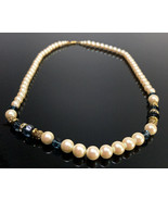 1928 Jewelry Faux Pearl & Faceted Blue Crystal  Necklace - $16.44