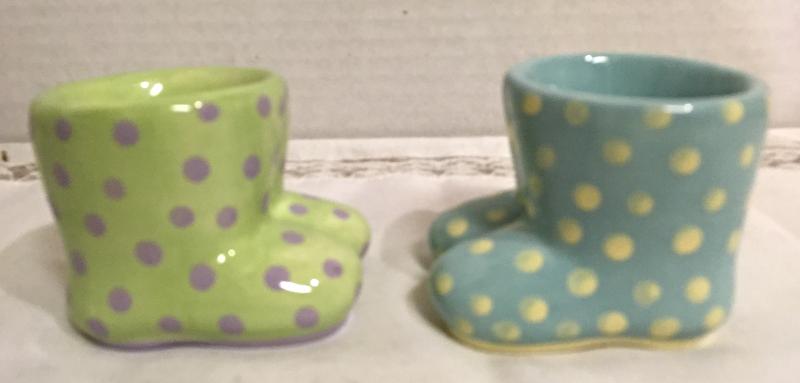 """Vintage Polka Dot """"Rubber Boot"""" Ceramic Egg Cups // Spring Time // Easter"""