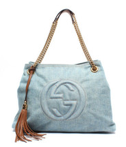 Auth Gucci SOHO Shoulder Bag Blue Inner Pockets Denim Canvas Zipper Logo... - $1,024.65