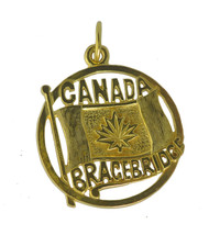 Yellow 24K Gold plated Bracebridge Ontario Canada Day Flag charm Jewelry pendant - $22.32