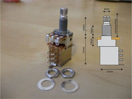 Push / Pull DPDT switched potentiometer, A250k, with 2 nuts and 1 washer - $5.67