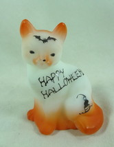 Fenton Sitting Cat Opal Satin Happy Halloween Air Brushed S/C With Bat &... - $57.96
