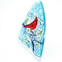 Fused Art Glass Cardinal Chickadee Bird Nightlight Night Light Handmade Ecuador image 2