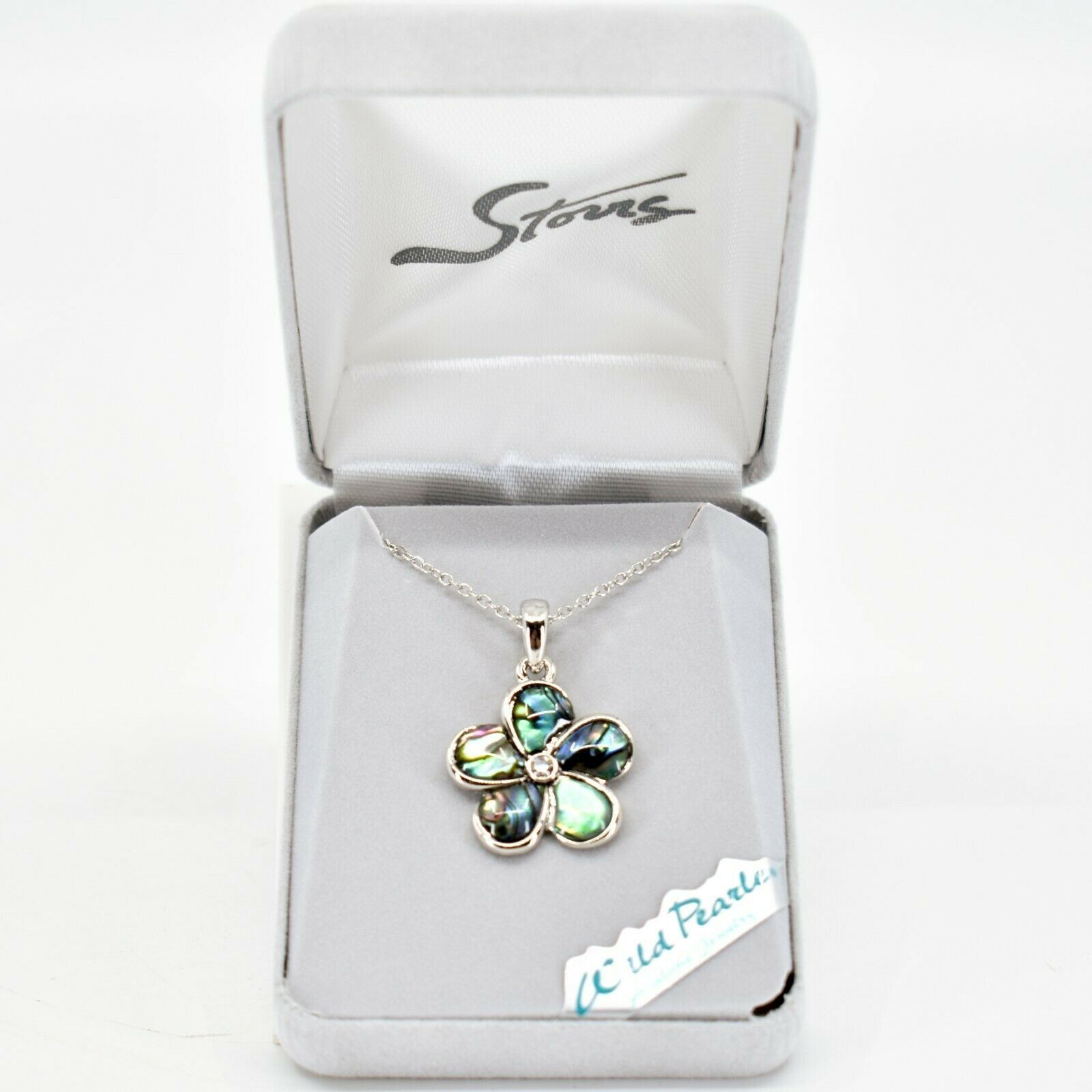 A.T. Storrs Wild Pearle Abalone Shell Forget Me Not Flower Pendant & SNecklace