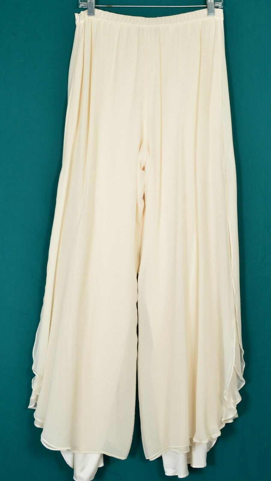 St John pants Evening SZ 8 off-white cream 2-layer silk long slits on leg USA