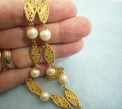 Vintage Avon Pearls N Gold Plate Filigree Links Necklace Estate - $14.85