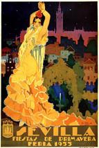 Spain 1933 Sevilla Fiesta Primavera Flamenco Spanish Dancer Vintage Poster Repro - $10.96+