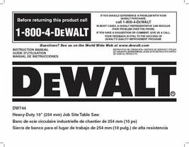 Dewalt Table Saw  Instruction Manual Model #DW744 - $10.88