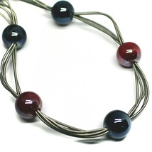 """MULTI WIRES NECKLACE RED BLUE BIG MURANO GLASS SPHERES, 50cm 20"""" ITALY MADE image 2"""