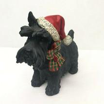 Christmas Standing Scottie Dog Green Red Scarf Santa Hat - $19.99