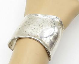 925 Sterling Silver - Vintage Shiny Wavy Designed Wide Cuff Bracelet - B... - $219.83