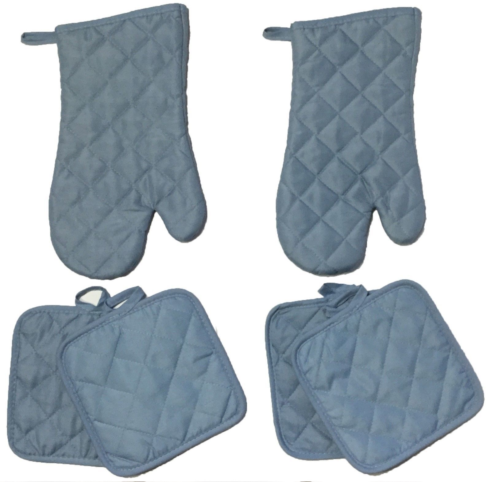 Set of 6, Solid Quilted Kitchen Set Includes 4 Pot Holder, 2 Oven Mitt.
