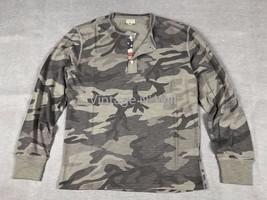 Denim Supply Ralph Lauren Mens M Military Gray Camo Flag Placket Henley ... - $47.49