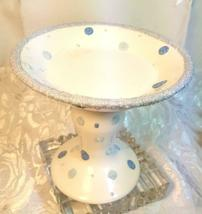 """THE WHITE BARN CANDLE Co. 5"""" WHITE CANDLE HOLDER WITH BLUE DOTS 5""""x5.5"""" image 3"""