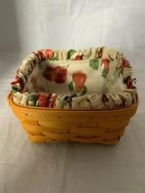 1999 Longaberger Medium Berry Basket Combo Fruit Fabric Liner Plastic Pr... - $37.39
