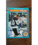 1979-80 TOPPS Rigide Signé Sur Carte Peter Lee Pittsburgh Penguins Rare ... - $24.95